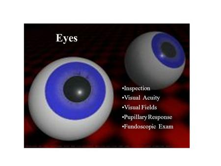 Eyes Inspection Visual Acuity Visual Fields Pupillary Response Fundoscopic Exam.