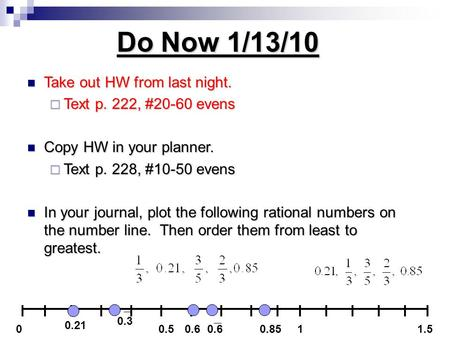 Do Now 1/13/10 Take out HW from last night. Take out HW from last night.  Text p. 222, #20-60 evens Copy HW in your planner. Copy HW in your planner.