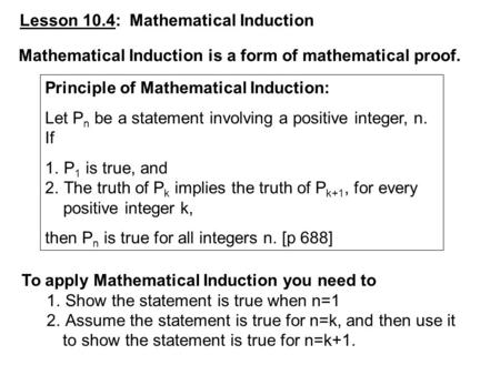 Lesson 10.4:  Mathematical Induction