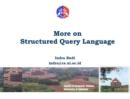 More on Structured Query Language Indra Budi