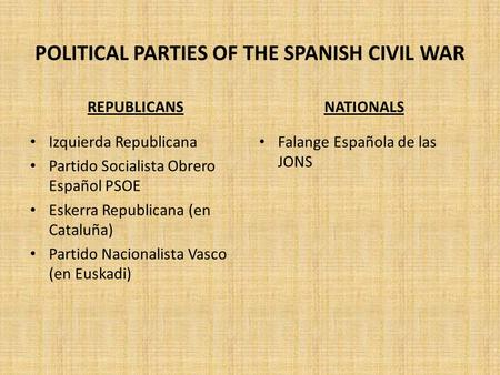 POLITICAL PARTIES OF THE SPANISH CIVIL WAR REPUBLICANS Izquierda Republicana Partido Socialista Obrero Español PSOE Eskerra Republicana (en Cataluña) Partido.