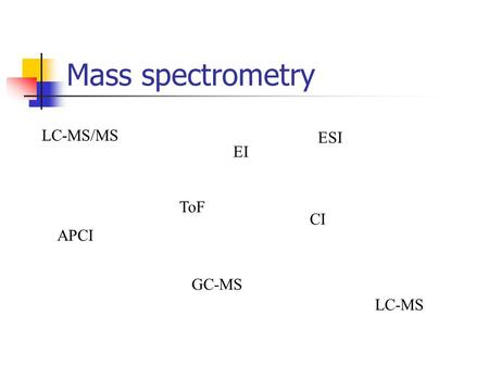 Mass spectrometry EI CI APCI ESI GC-MS LC-MS/MS LC-MS ToF.
