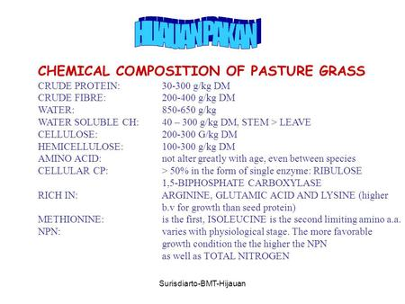 Surisdiarto-BMT-Hijauan CHEMICAL COMPOSITION OF PASTURE GRASS CRUDE PROTEIN: 30-300 g/kg DM CRUDE FIBRE: 200-400 g/kg DM WATER: 850-650 g/kg WATER SOLUBLE.