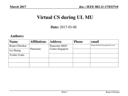 Virtual CS during UL MU Date: Authors: March 2017