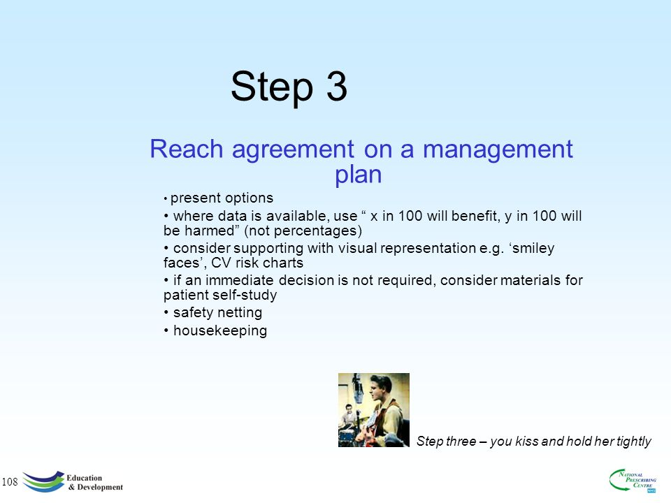 108 Step 3 Reach agreement on a management plan present options where data is available, use x in 100 will benefit, y in 100 will be harmed (not percentages) consider supporting with visual representation e.g.