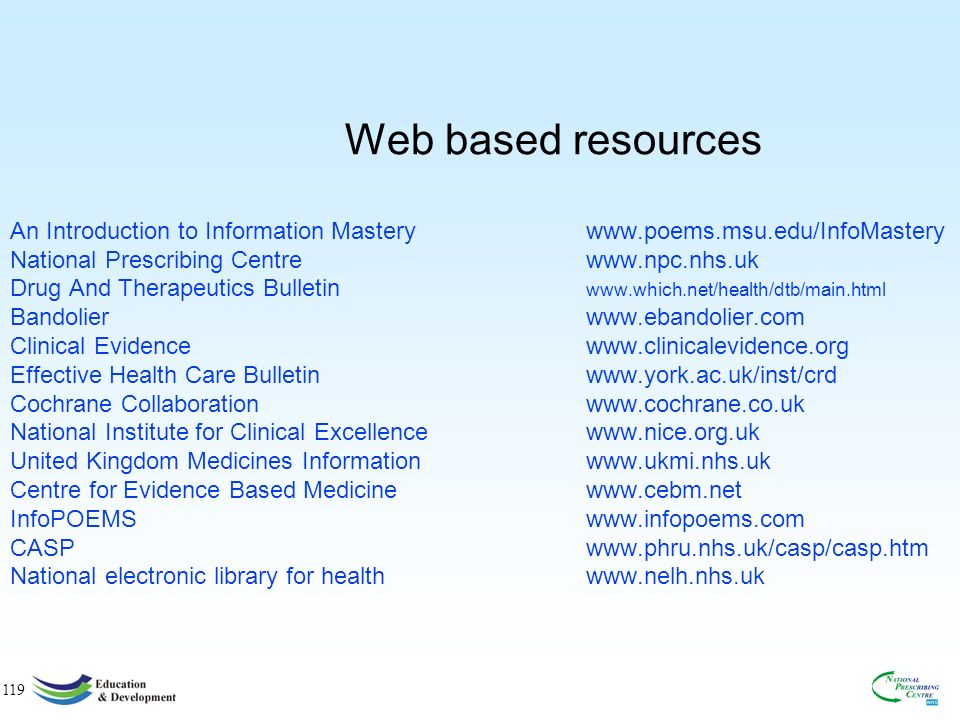 119 Web based resources An Introduction to Information Masterywww.poems.msu.edu/InfoMastery National Prescribing Centre www.npc.nhs.uk Drug And Therapeutics Bulletin www.which.net/health/dtb/main.html Bandolierwww.ebandolier.com Clinical Evidencewww.clinicalevidence.org Effective Health Care Bulletinwww.york.ac.uk/inst/crd Cochrane Collaborationwww.cochrane.co.uk National Institute for Clinical Excellencewww.nice.org.uk United Kingdom Medicines Informationwww.ukmi.nhs.uk Centre for Evidence Based Medicinewww.cebm.net InfoPOEMSwww.infopoems.com CASPwww.phru.nhs.uk/casp/casp.htm National electronic library for healthwww.nelh.nhs.uk