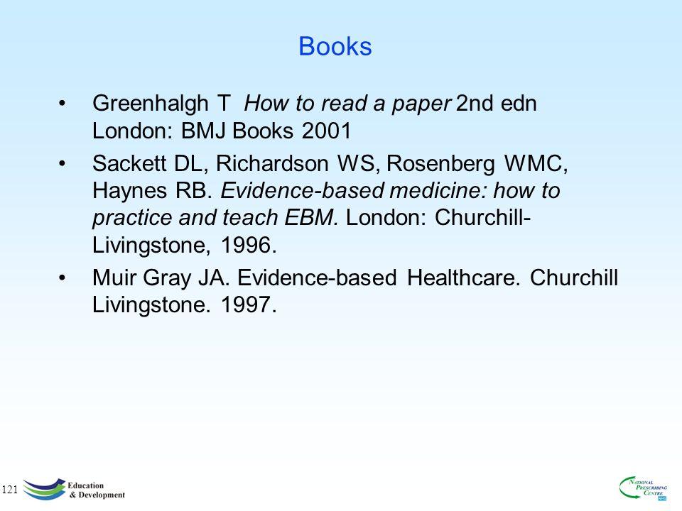 121 Books Greenhalgh T How to read a paper 2nd edn London: BMJ Books 2001 Sackett DL, Richardson WS, Rosenberg WMC, Haynes RB.