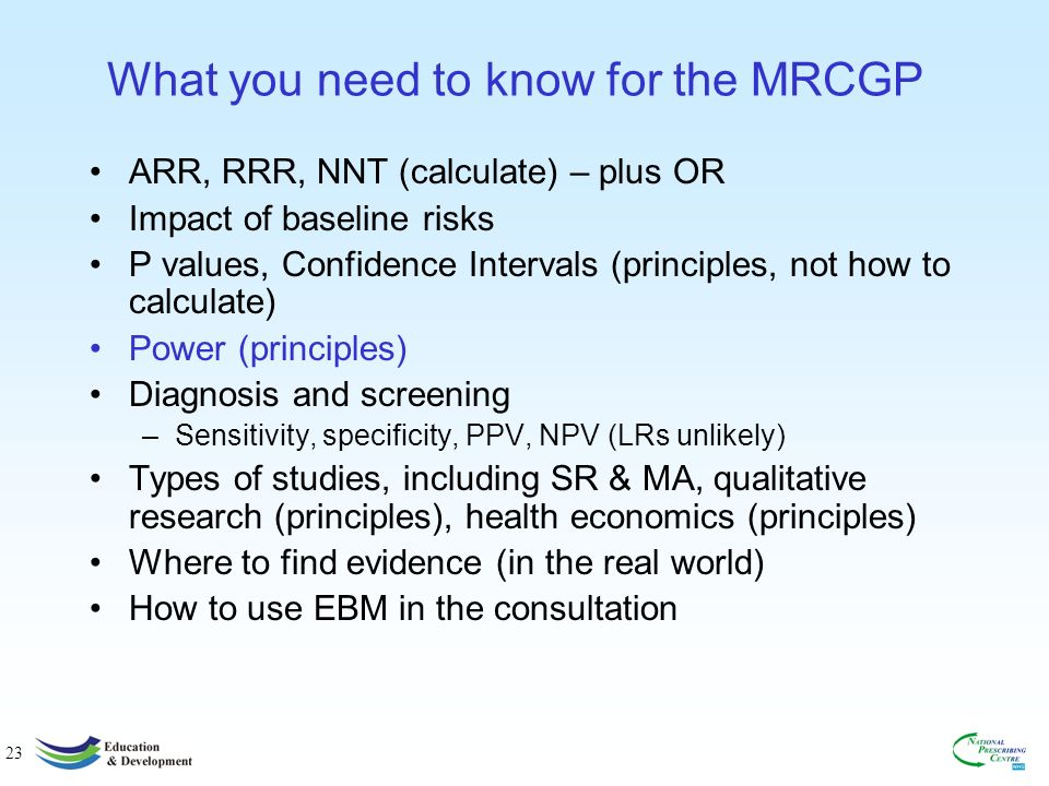 23 What you need to know for the MRCGP ARR, RRR, NNT (calculate) – plus OR Impact of baseline risks P values, Confidence Intervals (principles, not how to calculate) Power (principles) Diagnosis and screening –Sensitivity, specificity, PPV, NPV (LRs unlikely) Types of studies, including SR & MA, qualitative research (principles), health economics (principles) Where to find evidence (in the real world) How to use EBM in the consultation