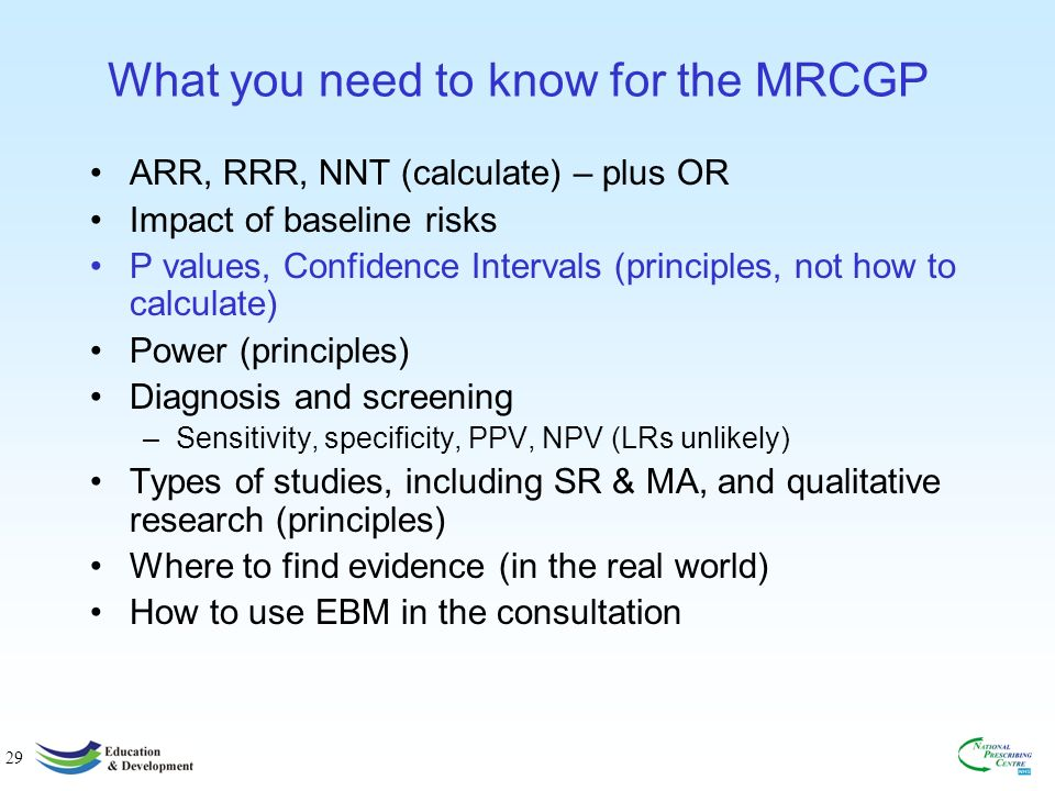29 What you need to know for the MRCGP ARR, RRR, NNT (calculate) – plus OR Impact of baseline risks P values, Confidence Intervals (principles, not how to calculate) Power (principles) Diagnosis and screening –Sensitivity, specificity, PPV, NPV (LRs unlikely) Types of studies, including SR & MA, and qualitative research (principles) Where to find evidence (in the real world) How to use EBM in the consultation