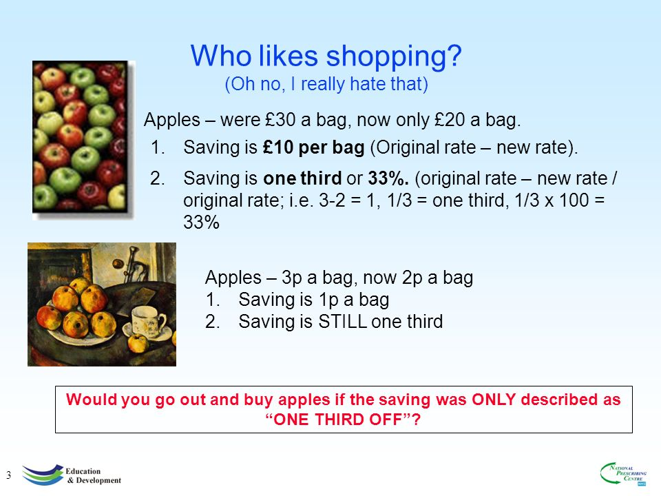 3 Who likes shopping.(Oh no, I really hate that) Apples – were £30 a bag, now only £20 a bag.
