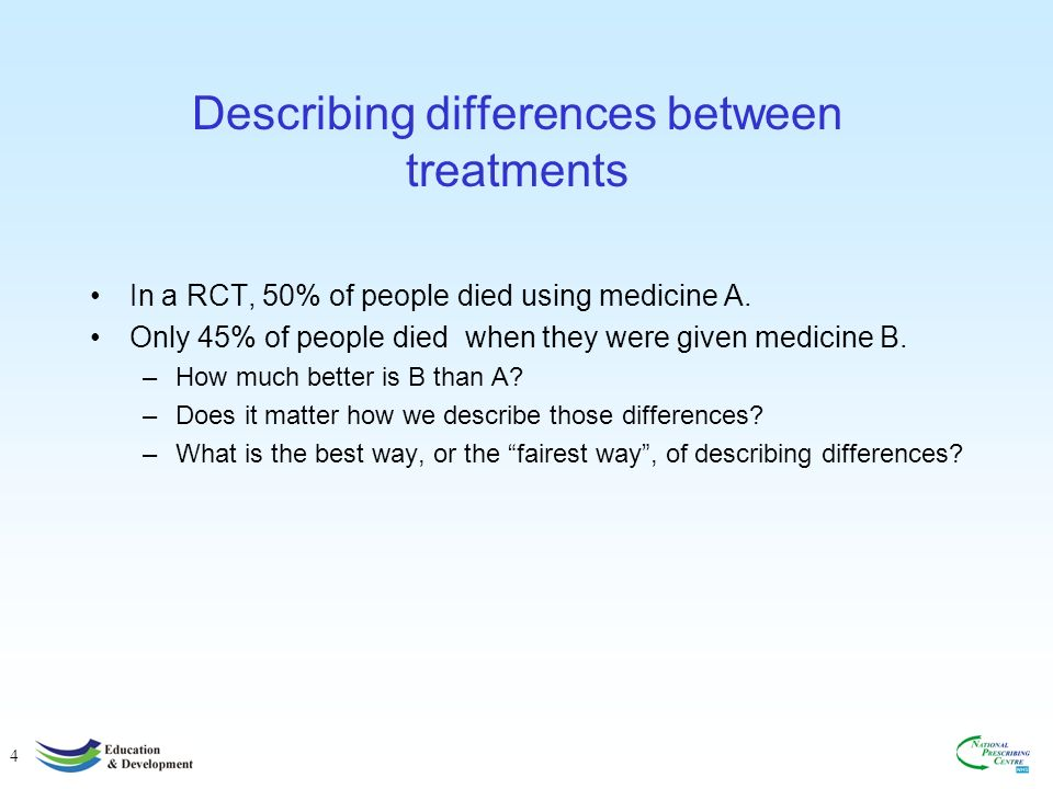 4 Describing differences between treatments In a RCT, 50% of people died using medicine A.