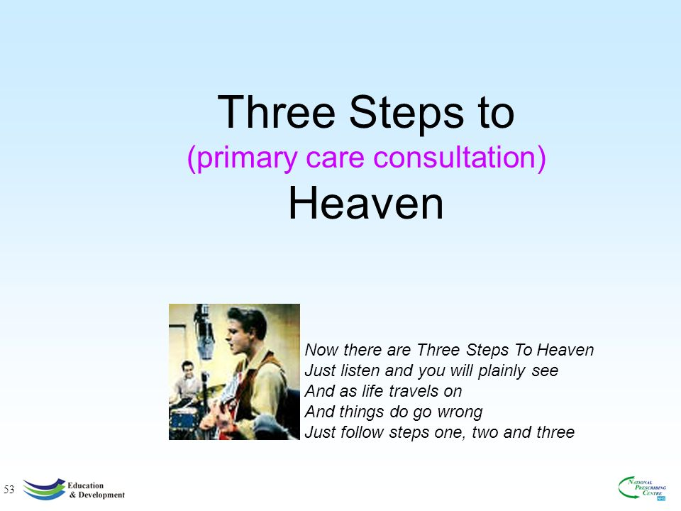 53 Three Steps to (primary care consultation) Heaven Now there are Three Steps To Heaven Just listen and you will plainly see And as life travels on And things do go wrong Just follow steps one, two and three