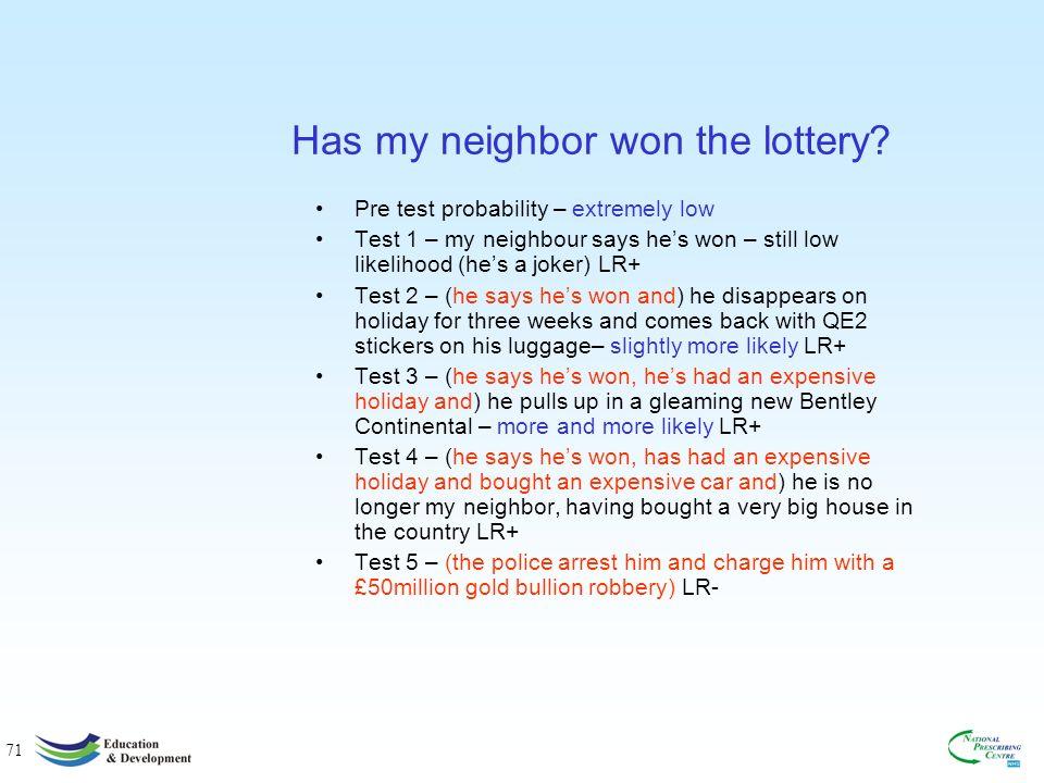71 Has my neighbor won the lottery.