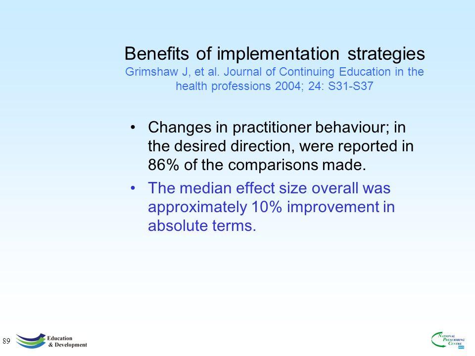 89 Benefits of implementation strategies Grimshaw J, et al.