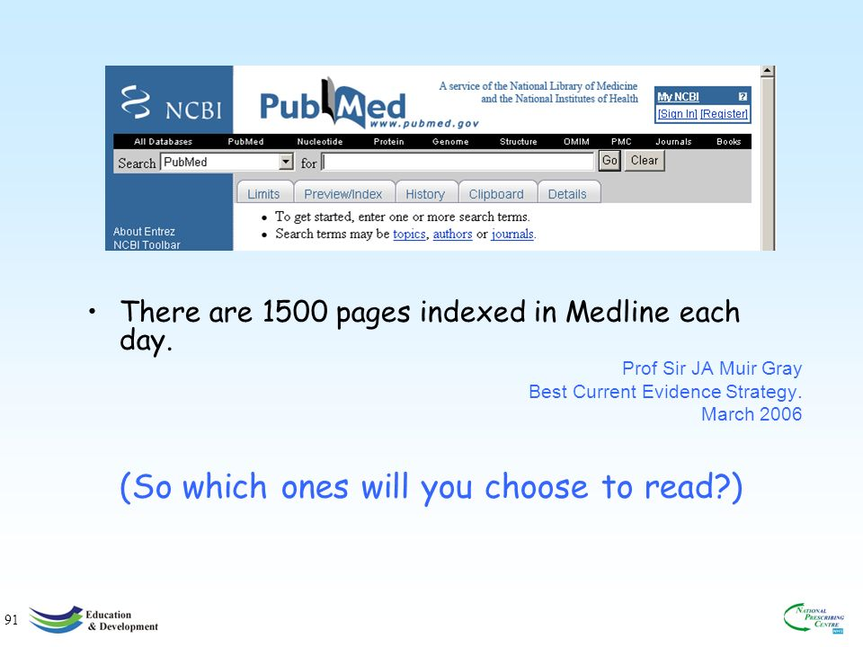 91 There are 1500 pages indexed in Medline each day.