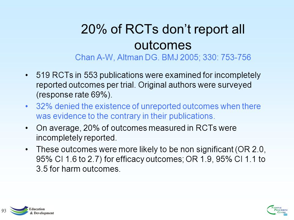 93 20% of RCTs dont report all outcomes Chan A-W, Altman DG.