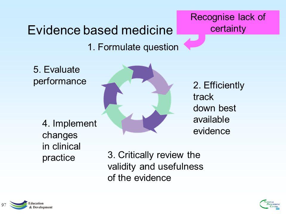 97 Evidence based medicine 1.Formulate question 2.