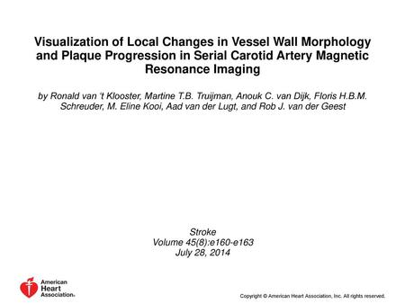 Visualization of Local Changes in Vessel Wall Morphology and Plaque Progression in Serial Carotid Artery Magnetic Resonance Imaging by Ronald van 't Klooster,