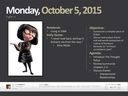 Monday, November 2, 2015 Objective: Agenda: Notebook: Daily