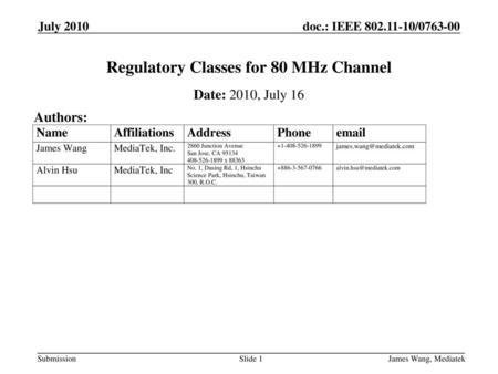 Regulatory Classes for 80 MHz Channel