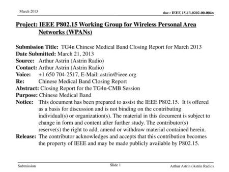 Jul 12, 2010 07/12/10 Project: IEEE P802.15 Working Group for Wireless Personal Area Networks (WPANs) Submission Title: TG4n Chinese Medical Band Closing.