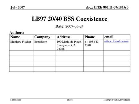 LB97 20/40 BSS Coexistence Date: Authors: July 2007
