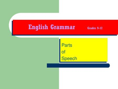 English Grammar Grades 9-12
