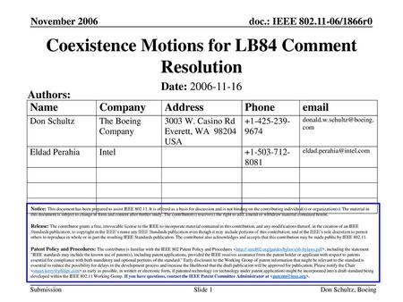 Coexistence Motions for LB84 Comment Resolution