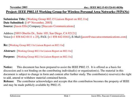 November 2003 Project: IEEE P802.15 Working Group for Wireless Personal Area Networks (WPANs) Submission Title: [Working Group 802.15 Liaison Report on.