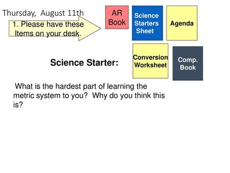 Thursday, August 11th Day 2 Science Starter: AR Book