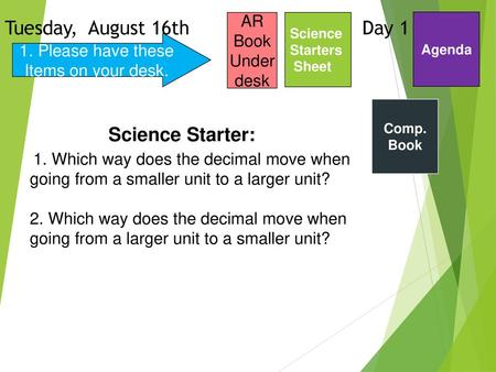 Tuesday, August 16th Day 1 Science Starter: AR Book Under