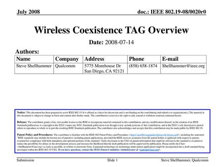 Wireless Coexistence TAG Overview