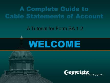 Getting Started > Account Info > Revenues > Fees > Certification > Interest > Contact A Complete Guide to Cable Statements of Account A Tutorial for Form.