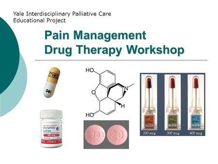 Pain Management Drug Therapy Workshop Yale Interdisciplinary Palliative Care Educational Project.