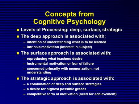 Concepts from Cognitive Psychology Levels of Processing: deep, surface, strategic Levels of Processing: deep, surface, strategic The deep approach is associated.