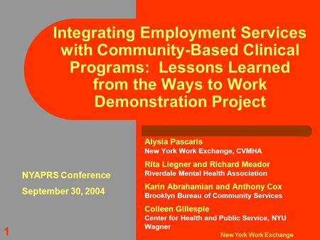 New York Work Exchange 1 Integrating Employment Services with Community-Based Clinical Programs: Lessons Learned from the Ways to Work Demonstration Project.