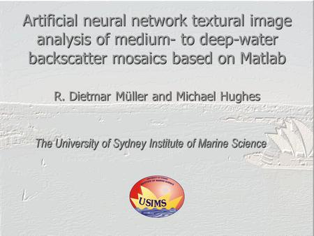 Artificial neural network textural image analysis of medium- to deep-water backscatter mosaics based on Matlab The University of Sydney Institute of Marine.