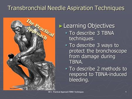 BI 5. Practical Approach TBNA Techniques1 Transbronchial Needle Aspiration Techniques ► Learning Objectives  To describe 3 TBNA techniques.  To describe.