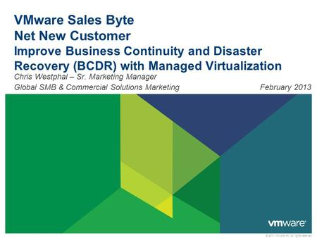 © 2011 VMware Inc. All rights reserved VMware Sales Byte Net New Customer Improve Business Continuity and Disaster Recovery (BCDR) with Managed Virtualization.