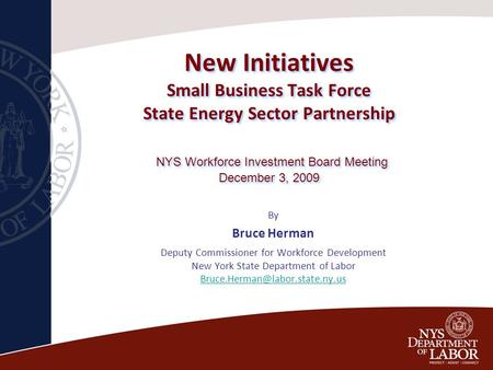New Initiatives Small Business Task Force State Energy Sector Partnership NYS Workforce Investment Board Meeting December 3, 2009 By Bruce Herman Deputy.