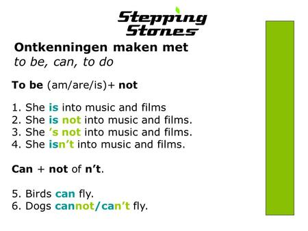 Ontkenningen maken met to be, can, to do To be (am/are/is)+ not 1. She is into music and films 2. She is not into music and films. 3. She 's not into music.