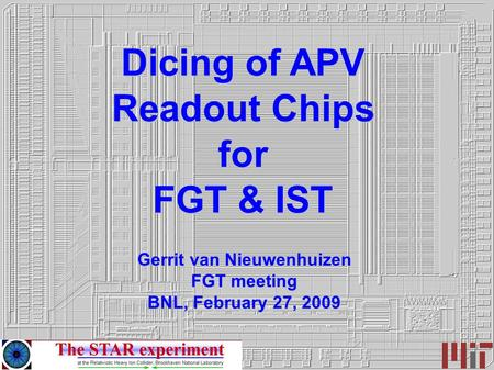 Dicing of APV Readout Chips for FGT & IST Gerrit van Nieuwenhuizen FGT meeting BNL, February 27, 2009.