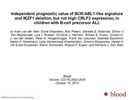 Independent prognostic value of BCR-ABL1-like signature and IKZF1 deletion, but not high CRLF2 expression, in children with B-cell precursor ALL by Arian.