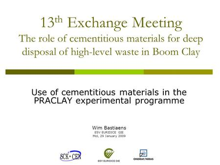 13 th Exchange Meeting The role of cementitious materials for deep disposal of high-level waste in Boom Clay Use of cementitious materials in the PRACLAY.