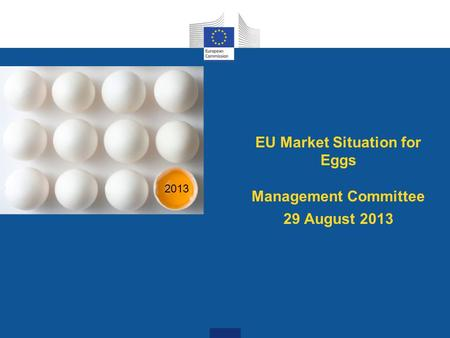 EU Market Situation for Eggs Management Committee 29 August 2013 2013.
