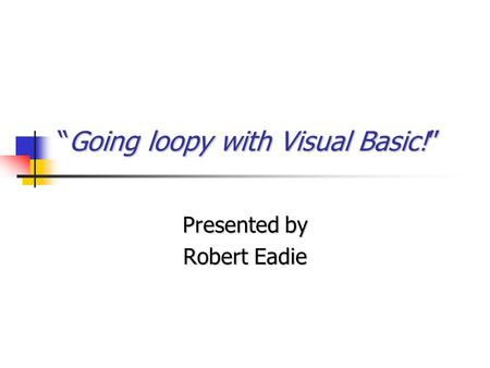 """Going loopy with Visual Basic!"" Presented by Robert Eadie."