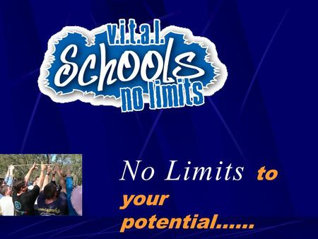 "No Limits to your potential……. Many young people have not developed basic ""VALUES"" some of these values are:  Being responsible  Being  Being committed."
