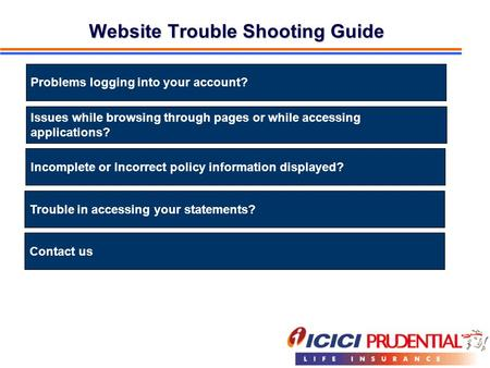 Website Trouble Shooting Guide Problems logging into your account? Issues while browsing through pages or while accessing applications? Incomplete or Incorrect.