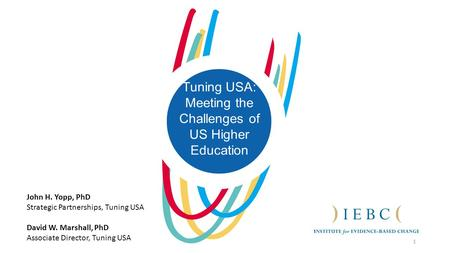 1 Tuning USA: Meeting the Challenges of US Higher Education John H. Yopp, PhD Strategic Partnerships, Tuning USA David W. Marshall, PhD Associate Director,