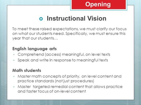 To meet these raised expectations, we must clarify our focus on what our students need. Specifically, we must ensure this year that our students… English.